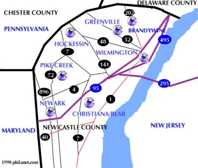New Castle County Delaware Map